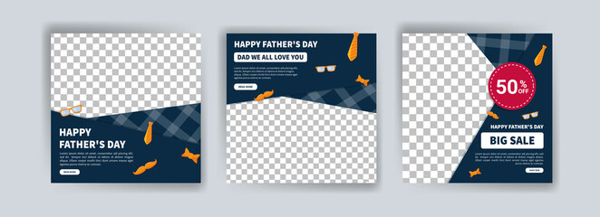 Fototapeta Happy Father's Day. Father's day big sale. Banner vector for social media ads, web ads, business messages, discount flyers and big sale banners. obraz