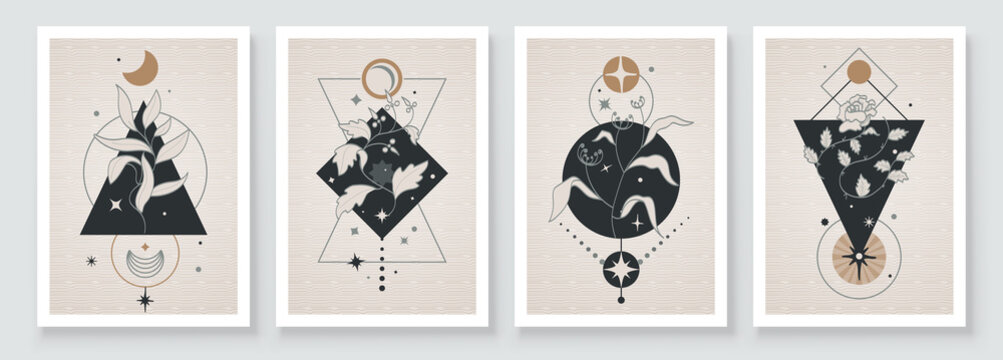 Abstract contemporary art with celestial geometry shapes. Esoteric mystical celestial botanical sacred wall art. Wall decor painting. Minimalistic background design. Vector illustration.