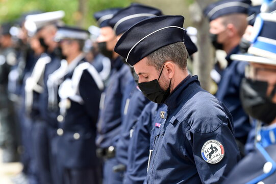 Ceremony to pay tribute to police officer Eric Masson, in Avignon