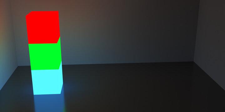 Three RGB glowing cubes in an empty dark room. 3d render