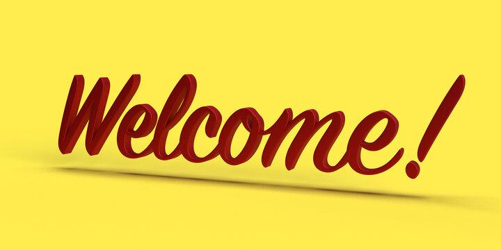 Welcome message un 3d lettering. 3d render