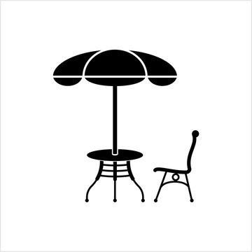 Table Chair Sun Umbrella Icon