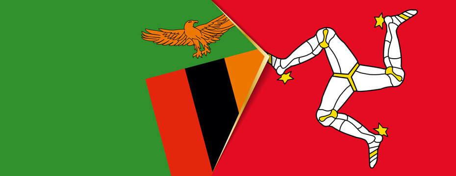 Zambia and Isle of Man flags, two vector flags.