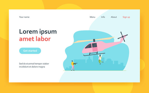 Two criminals stealing helicopter. Transport, weapon, mask flat vector illustration. Crime and terrorism concept for banner, website design or landing web page