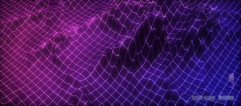 Network grid technology background, in a new retro wave style. A 3D render mesh, futuristic concept