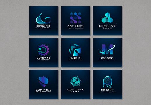 Futuristic Business Logo Design Set