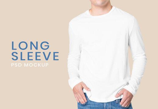 Man Wearing White Long Sleeve Tshirt