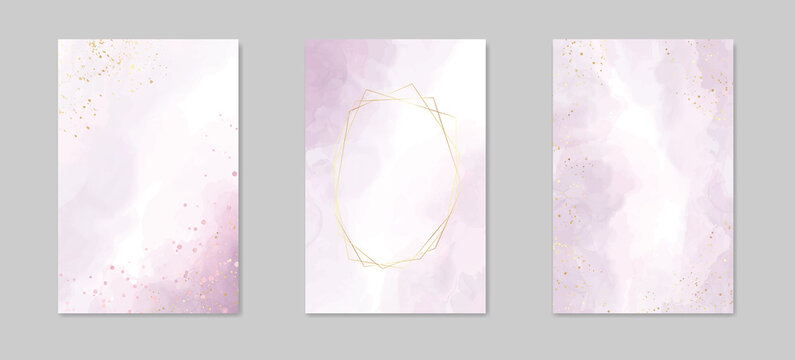 Abstract dusty lavender liquid watercolor background with golden lines, frame and stains. Pastel marble alcohol ink drawing effect. Vector illustration of acrylic fluid art painting
