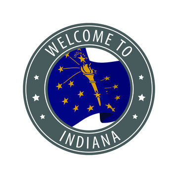 Welcome to Indiana. Gray stamp with a waving state flag.