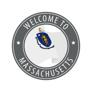 Welcome to Massachusetts. Gray stamp with a waving state flag.