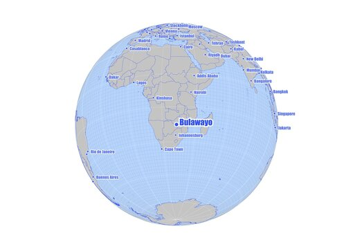 Bulawayo;Zimbabwe map at the center of a global view of the world.  Map showing Bulawayo;Zimbabwe's position on the world map and other major cities around the world.