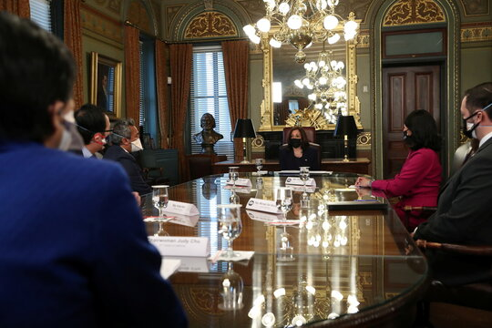 U.S. Vice President Kamala Harris holds a conversation with members of the Congressional Asian Pacific American Caucus in the Vice President's Ceremonial Office in Eisenhower Executive Office Building in Washington