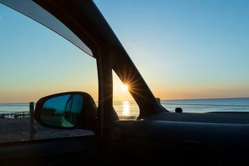 車から見た日の出