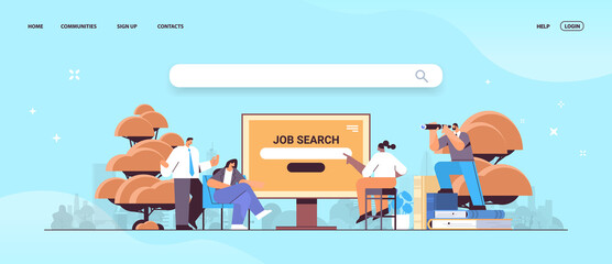 job search recruitment headhunting in social network mix race employees looking for job horizontal