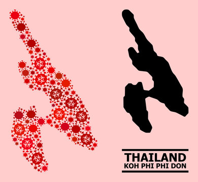 Vector covid-2019 composition map of Koh Phi Don constructed for pharmacy illustrations. Red mosaic map of Koh Phi Don is made with biohazard covid infection parts.