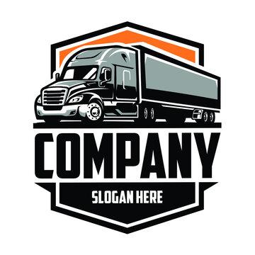 Semi Truck Trailer 18 Wheeler Company Logo Vector Isolated