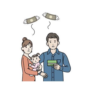 金欠 貯金 お金がない 若い夫婦 親子 3人家族 貧困 養育費 イラスト素材