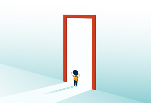 Vector of a student standing at a door of future opportunities