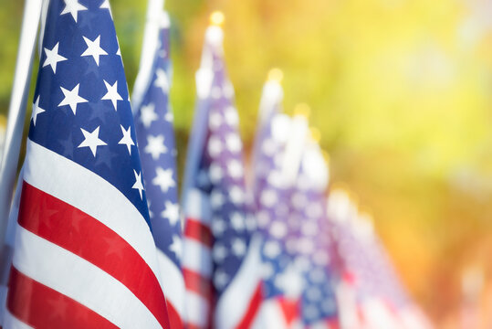 Closeup of an American flag in a row. Memorial day, Independence day, Veterans day concept. Copy space.