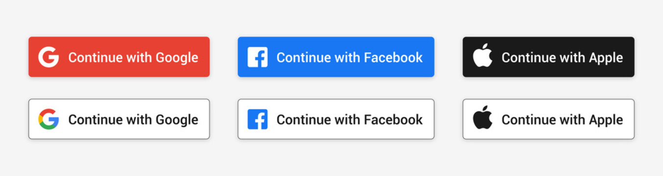 Continue with Google, Facebook, Apple buttons set. Isolated website or app sign in badges on white background. Authenticate user login with Google, Facebook, Apple logos. Ui modern vector illustration