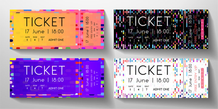 Admission ticket set. Template with circular dots and vertical colorful line on black and white background. Vector design for musical event, performance