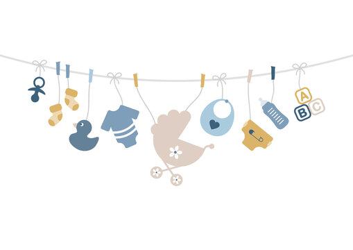 Karte Gebogene Leine Babysymbole Junge Retroblau Senfgelb