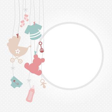 Links Hängende Babysymbole Mädchen Rosa Mintgrün Runde Rahmen Punkte Grau