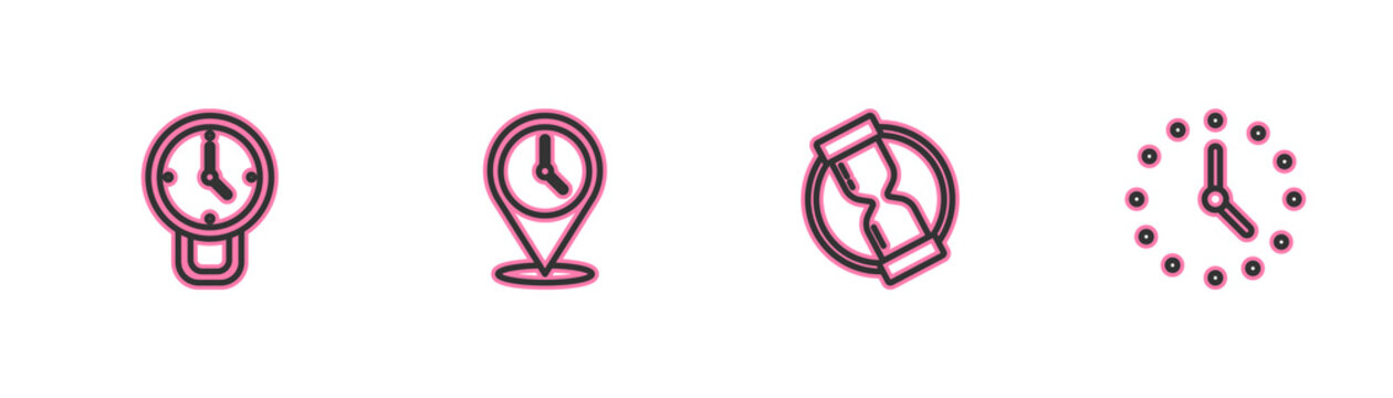 Set line Clock, Old hourglass, Location with clock and icon. Vector