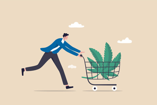 Purchasing cannabis CBD or buying marijuana for medical concept, happy patient man pushing shopping cart with cannabis leaf.