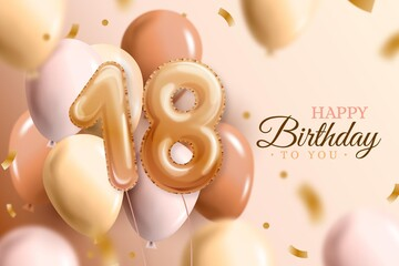 Happy 18th Birthday Background With Realistic Balloons_6 Wall mural