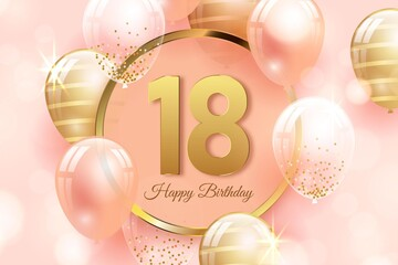 Happy 18th Birthday Background With Realistic Balloons_3 Wall mural