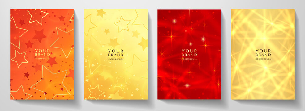 Modern holiday cover design set. Starry pattern with golden stars in gold, red color. Vector luxury collection background for Christmas catalog, brochure template, booklet, gift card