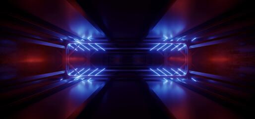 Alien Glowing Neon Laser Red Blue Lights Beams Sci Fi Futuristic Spaceship Corridor Tunnel Warehouse Cyber Virtual 3D Rendering