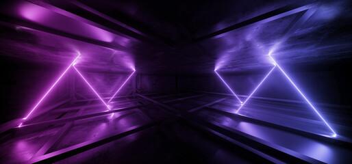 Cyber Parking Alien Spaceship Virtual Neon Sign Glowing Lasers Glowing Vibrant Blue Purple Cement Basement Warehouse Tunnel Corridor Dark Showroom Club Retro 3D Rendering