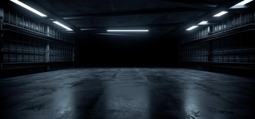 Fototapeta Dark Concrete Led White Lights Underground Tunnel Corridor Cement Asphalt Hallway Warehouse Tunnel Corridor Metal Structure Realistic Empty 3D Rendering obraz