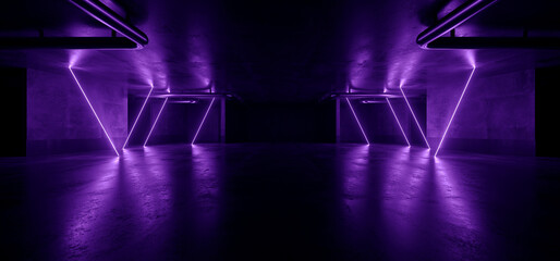 Neon Warehouse Sci Fi Futuristic Grunge Blue Violet Cyber Glowing Laser Electric Concrete Stage Showroom Corridor Club Dark Tunnel Realistic Background Beams 3D Rendering