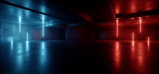 Fototapeta Neon Warehouse Sci Fi Futuristic Grunge Purple Blue Glowing Laser Electric Concrete Hallway Showroom Corridor Club Dark Tunnel Realistic Background Beams 3D Rendering obraz