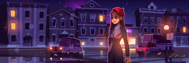 Young woman on night street at rainy weather in town with cars going along illuminated road with lampposts and crossroad, water puddles and flash lightning in dark sky, cartoon vector illustration