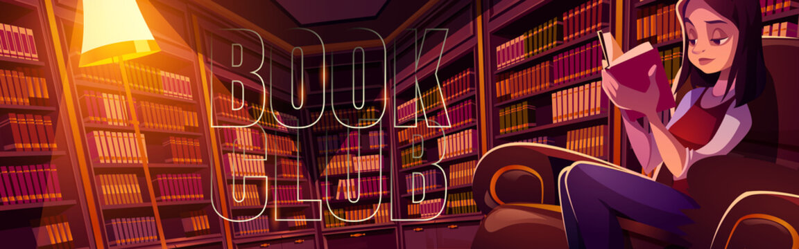 Book club cartoon banner, young woman reading in library at night time. Thoughtful girl in dark room with bookcases around. Online application or service for readers fun, vector header.