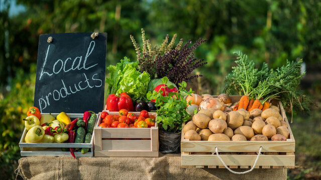 A counter with fresh vegetables at a small farmers market