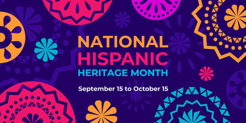 Fototapeta Hispanic heritage month. Vector web banner, poster, card for social media, networks. Greeting with national Hispanic heritage month text, Papel Picado pattern, perforated paper on purple background. obraz