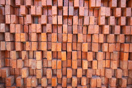 Rugged orange brick wall texture background
