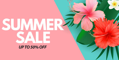 Summer sale poster. Natural Background with Tropical Palm and Monstera Leaves, exotic flower. Vector Illustration - fototapety na wymiar