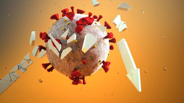 Three dimensional render of Coronavirus cell destroying arrow representing stock market