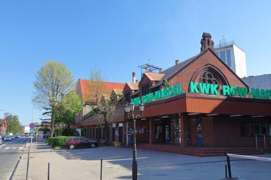 RADLIN, POLAND - MAY 11, 2021: KWK ROW-Marcel coal mine in Radlin, Poland. The coal mine is part of Polska Grupa Gornicza (PGG, English: Polish Mining Group).