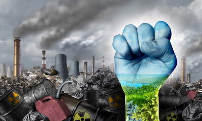 Ecological social justice environmental concept as a fist fighting for the environment and climate change equal rights or conservation society and fairness