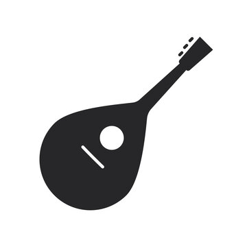 Musical strings instrument icon. Mandolin isolated on transparent background.