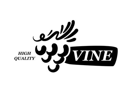 Vector logo drawn by hand. Bunch of grapes for making wine