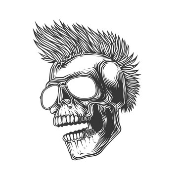 Original monochrome vector illustration on a white background. Crazy skull in dark glasses, with a punk rock hairstyle on his head. T-shirt design, stickers, print.