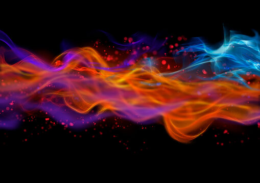 Abstract multicolor wave pattern on black background